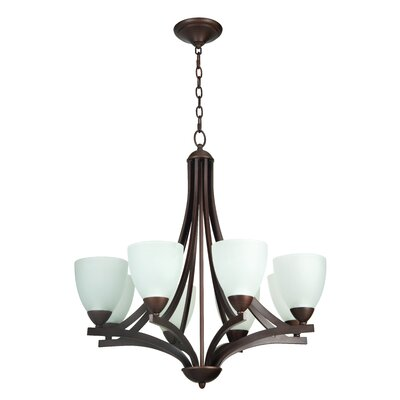 Alvah 8-Light Shaded Chandelier Finish: Oiled Bronze, Shade Color: White Frosted