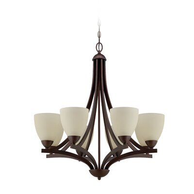Alvah 8-Light Shaded Chandelier Finish: Oiled Bronze, Shade Color: Creamy Frosted
