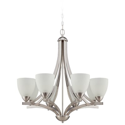 Alvah 8-Light Shaded Chandelier Finish: Satin Nickel, Shade Color: White Frosted