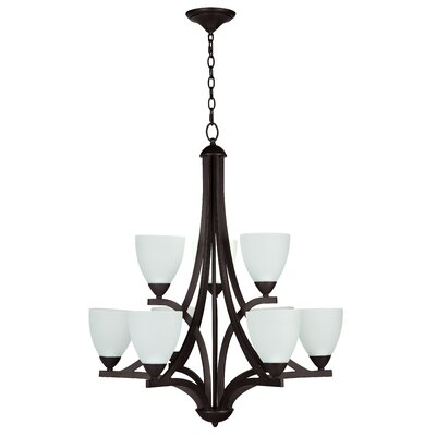 Alvah 9-Light Shaded Chandelier Finish: Oiled Bronze, Shade Color: White Frosted