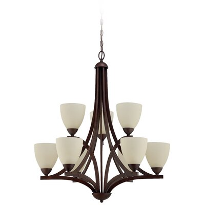 Alvah 9-Light Shaded Chandelier Finish: Oiled Bronze, Shade Color: Creamy Frosted