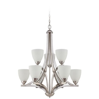 Alvah 9-Light Shaded Chandelier Shade Color: White Frosted, Finish: Satin Nickel