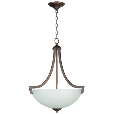 Alvah 3-Light Inverted Pendant Finish: Oiled Bronze, Shade Color: White Frosted