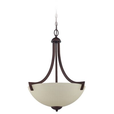 Alvah 3-Light Inverted Pendant Finish: Oiled Bronze, Shade Color: Creamy Frosted