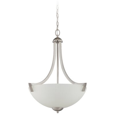 Alvah 3-Light Inverted Pendant Finish: Satin Nickel, Shade Color: White Frosted