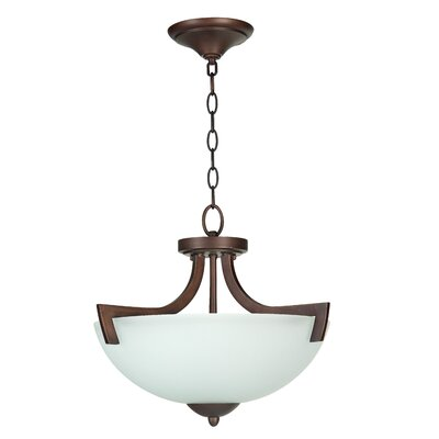 Alvah 3-Light Semi Flush Mount Finish: Oiled Bronze, Shade Color: White Frosted