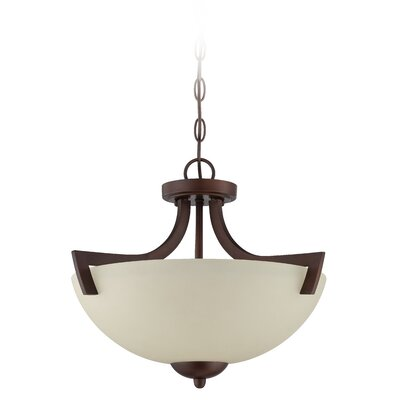 Alvah 3-Light Semi Flush Mount Finish: Oiled Bronze, Shade Color: Creamy Frosted