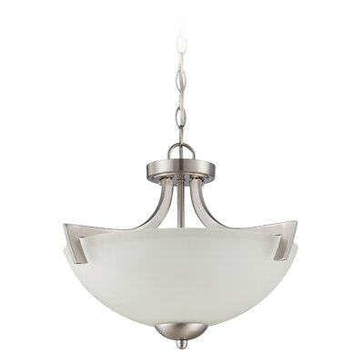 Alvah 3-Light Semi Flush Mount Finish: Satin Nickel, Shade Color: White Frosted