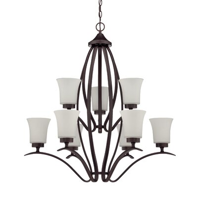 Grampian 9-Light Shaded Chandelier Finish: Aged Bronze Brushed
