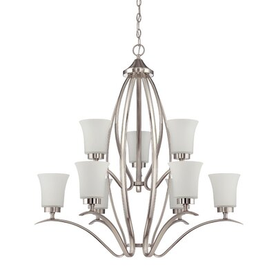 Grampian 9-Light Shaded Chandelier Finish: Satin Nickel