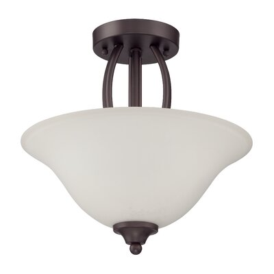 Grampian 2-Light Semi Flush Mount Finish: Aged Bronze Brushed