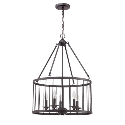 Villa 5-Light Foyer Pendant Finish: Black Iron