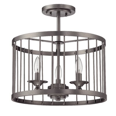 Villa 3-Light Drum Pendant Finish: Black Iron