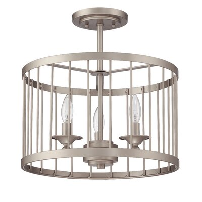 Villa 3-Light Drum Pendant Finish: Satin Nickel