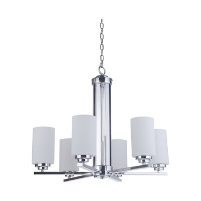 Keisuke 6-Light Shaded Chandelier Finish: Chrome