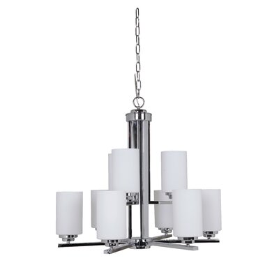 Keisuke 9-Light Shaded Chandelier Finish: Chrome