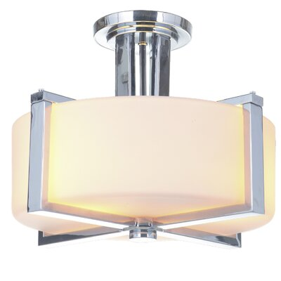 Keisuke 3-Light Semi Flush Mount Finish: Chrome