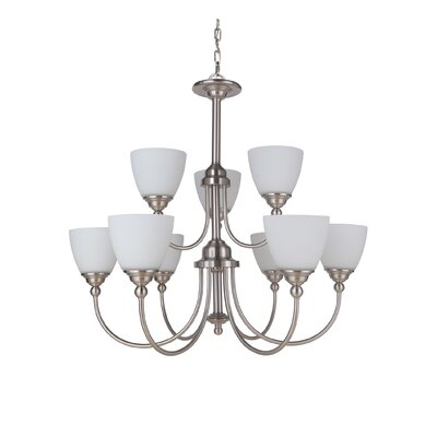 Alvan 9-Light Shaded Chandelier Finish: Brushed Polished Nickel
