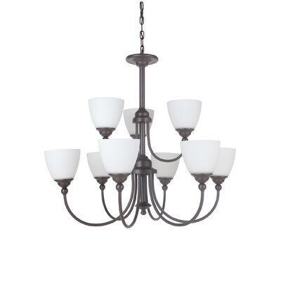 Alvan 9-Light Shaded Chandelier Finish: Espresso