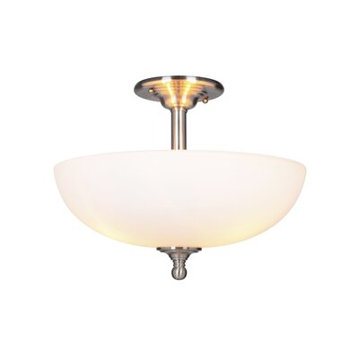 Alvan 3-Light Semi Flush Mount Finish: Brushed Polished Nickel