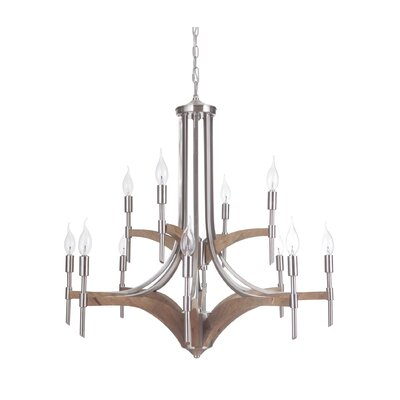 Polen 12-Light Candle-Style Chandelier Finish: Brushed Nickel