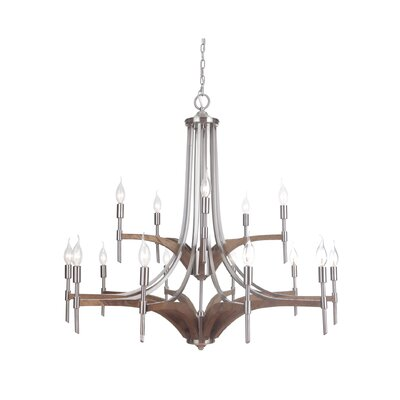 Polen 15-Light Candle-Style Chandelier Finish: Brushed Nickel
