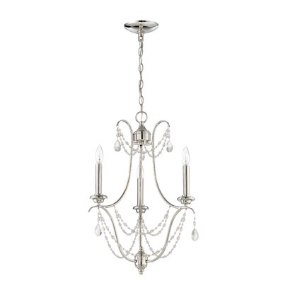 Edelina 3-Light Candle-Style Chandelier Finish: Polished Nickel