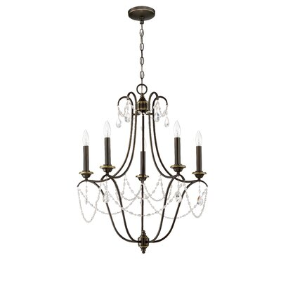 Edelina 5-Light Candle-Style Chandelier Finish: Legacy Brass