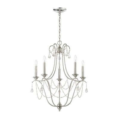 Edelina 5-Light Candle-Style Chandelier Finish: Polished Nickel