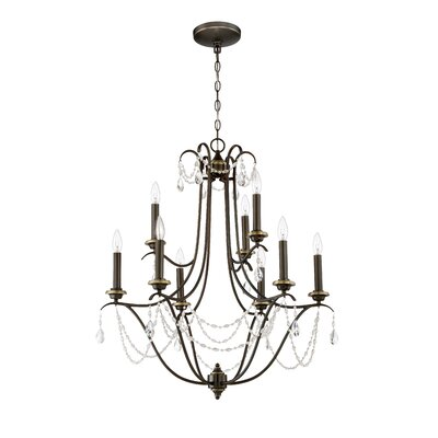 Edelina 9-Light Crystal Chandelier Finish: Legacy Brass