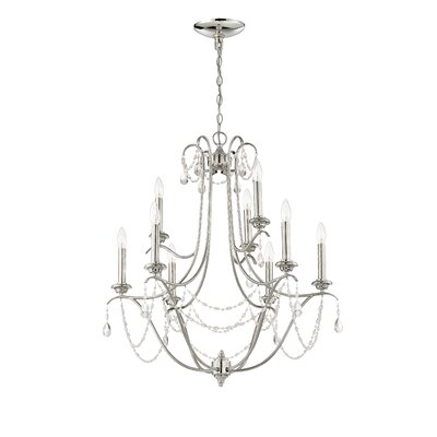 Edelina 9-Light Crystal Chandelier Finish: Polished Nickel