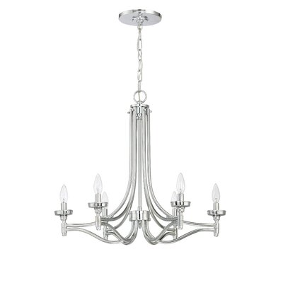 Beauchamp 6-Light Candle-Style Chandelier Finish: Chrome