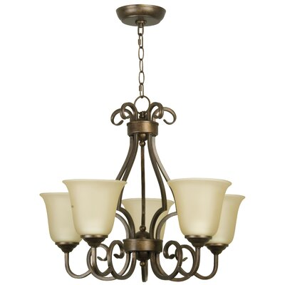 Builder 5-Light Shaded Chandelier Finish: Peruvian Bronze with Amber Glass