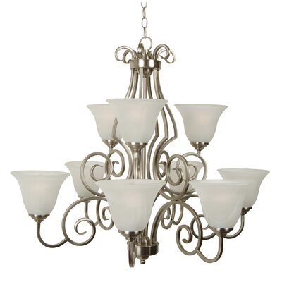 Builder 9-Light Shaded Chandelier Finish: Brushed Nickel with Alabaster Glass