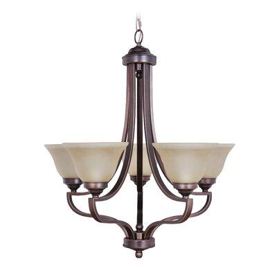 Portia 5-Light Shaded Chandelier Finish: Metropolitan Bronze, Glass Type: White
