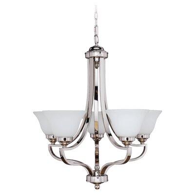Portia 5-Light Shaded Chandelier Finish: Polished Nickel, Glass Type: White