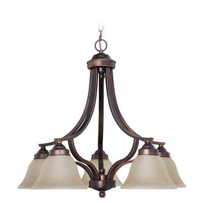 Poughkeepsie 5-Light Shaded Chandelier Finish: Metropolitan Bronze, Glass Type: White