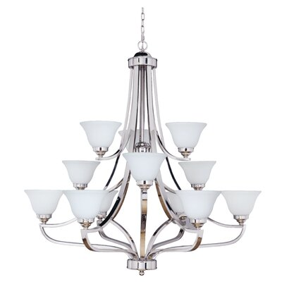 Poughkeepsie 12-Light Shaded Chandelier Finish: Polished Nickel, Glass Type: White