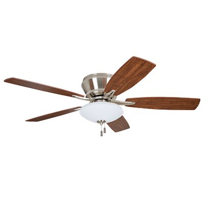 52 Atmos 5 Blade Ceiling Fan Finish: Brushed Polished Nickel with Maple/Cherry Blades