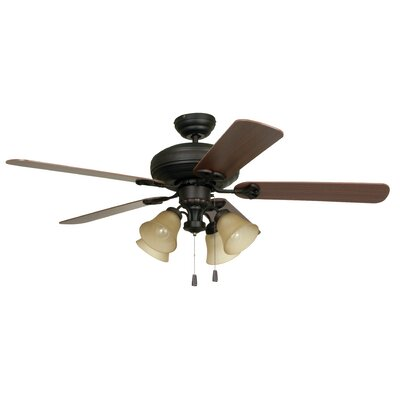52 Moonsu 5-Blade Ceiling Fan Finish: Aged Bronze with Dark Oak/Mahogany Blades