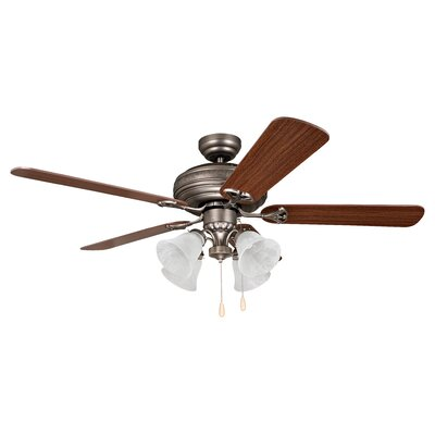 52 Moonsu 5-Blade Ceiling Fan Finish: Antique Nickel with Ash/Mahogany Blades