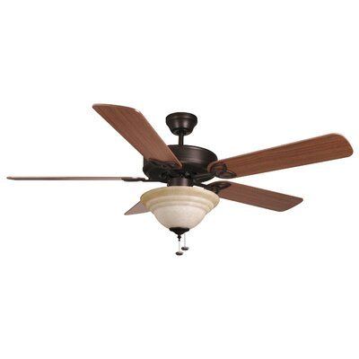 52 Gouge 2-Light 5-Blade Ceiling Fan Finish: Aged Bronze with Dark Oak/Mahogany Blades
