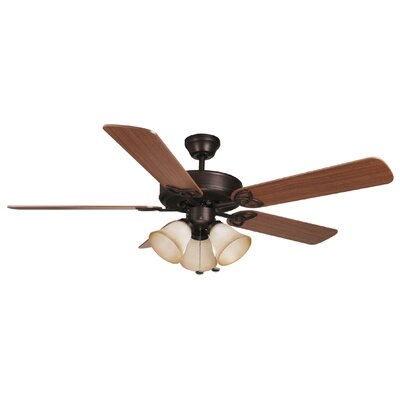 52 Gouge 5-Blade Ceiling Fan Finish: Aged Bronze with Dark Oak/Mahogany Blades