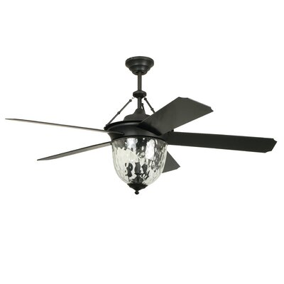 52 Cavalier 5-Blade Ceiling Fan with Wall Remote Finish: Aged Bronze with Black Blades