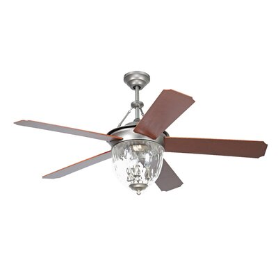 52 Cavalier 5-Blade Ceiling Fan with Wall Remote Finish: Pewter with Walnut Blades