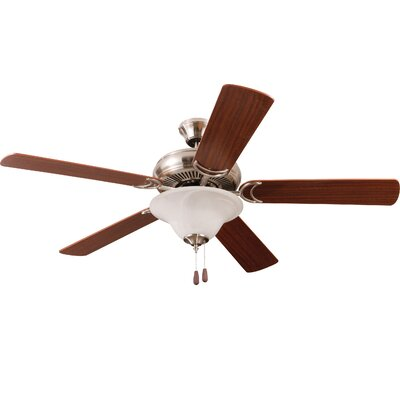 52 Godbey 3-Light 5-Blade Ceiling Fan Finish: Brushed Polished Nickel with Maple/Mahogany Blades