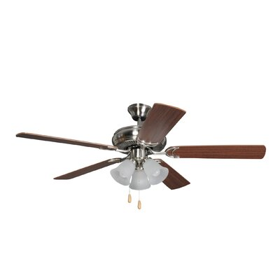 52 Godbey Traditional 5-Blade Ceiling Fan Finish: Brushed Polished Nickel with Maple/Mahogany Blades