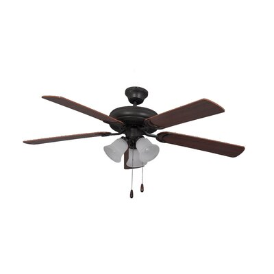 52 Godbey Traditional 5-Blade Ceiling Fan Finish: French Bronze with Dark Oak/Mahogany Blades
