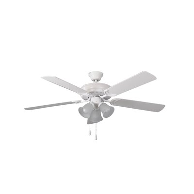 52 Godbey Traditional 5-Blade Ceiling Fan Finish: Matte White with Matte White Blades