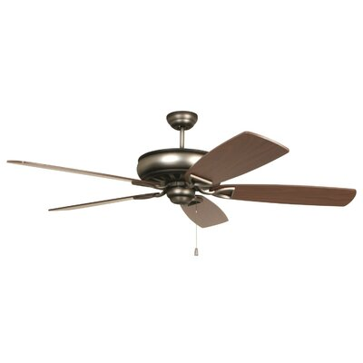 62 Wolfgram 5-Blade Ceiling Fan Color: Dark Antique Nickel with Birch/Teak Blades